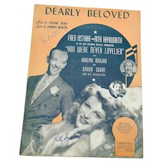 Fred Astaire / Rita Hayworth Signed Sheet Music Dearly Beloved