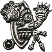 Rare Early Antonio Pineda Neo Pre-Columbian Taxco Mexican 980 Silver Pin