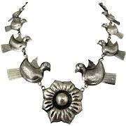"23"" Federico Jimenez Doves Flower Repousse Sterling Silver Necklace"