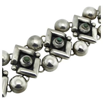 Fred Davis Turquoise Repoussé Sterling Silver Taxco Mexican Bracelet