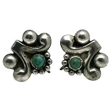 Frederick Davis Mexican Turquoise Sterling Silver Earrings
