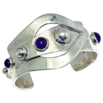GJ Taxco 970 Silver Amethyst Modernist Mexican Cuff Bracelet
