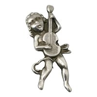Vintage Taxco Mexican Cherub Playing Guitar Sterling Silver Pin