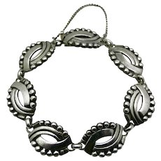 """Hector Aguilar 940 Silver Taxco Mexican Mask Bracelet 7"""""""