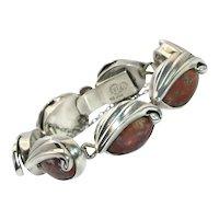 IR Taxco Mexican Modernist Repoussé Sterling Silver Stone Bracelet