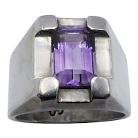 Heavy Amethyst Taxco Mexican Modernist Sterling Silver Ring Size 10