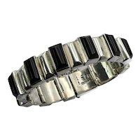 JVL Taxco Mexican 970 Silver Onyx Bars Bracelet