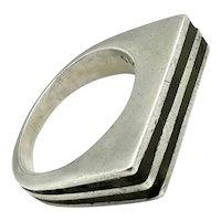 Los Castillo #215 Mosaico Azteca Modernist Mexican Taxco Sterling Silver Ring Size 10