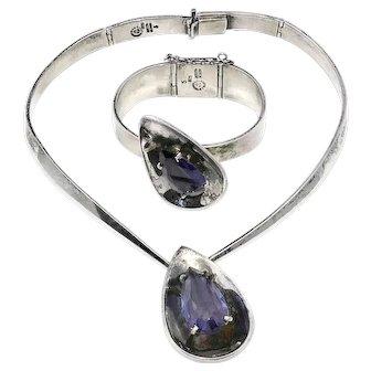Los Castillo Taxco Mexican Sterling Silver Teardrop Gemstone Necklace Bracelet Set