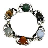 Vintage Los Castillo Caged Gemstones Taxco Mexican Bracelet