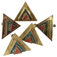Los Castillo Taxco Mexico Deco Design Triangular Door Pulls Brass Stone Set of Five