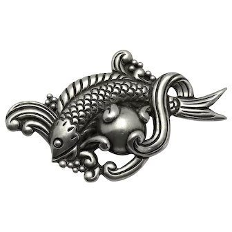 """3 1/4"""" Los Castillo Fish in Waves Taxco Mexican Repoussé Sterling Silver Pin"""