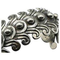 Los Castillo #263 Taxco Mexican Beaded Swirls Sterling Silver Cuff Bracelet 1940's