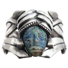 Huge L.S. Early Mexican Azurite Repoussé Sterling Silver Clamper Cuff Bracelet