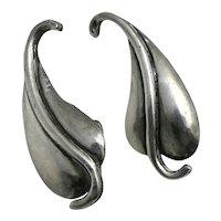 Margot de Taxco #5196 Mexican Sterling Silver Leaf Earrings