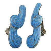 Margot de Taxco #5644 Mexican Enamel Sterling Silver Earrings