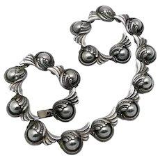 Gorgeous Margot de Taxco #5240 Taxco Mexican Repoussé Sterling Silver Necklace