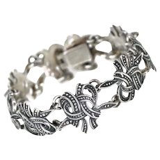 """Margot de Taxco """"Leaf and Ribbons"""" Mexican Sterling Silver Bracelet #5346"""
