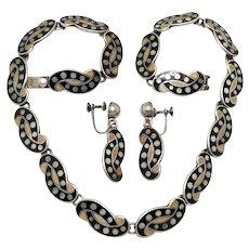 Margot de Taxco Dots On Knot Mexican Enamel Sterling Silver Necklace Earrings Set