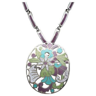 """Margot de Taxco """"Flowers in a Circle"""" #5860 Mexican Enamel Sterling Silver Pendant / Pin Necklace 21"""""""