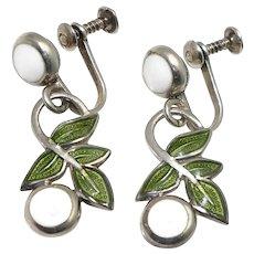 """Margot de Taxco Mexican """"Fruit and Branch"""" Enamel Sterling Silver Earrings"""