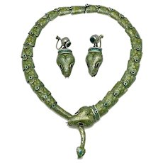 Margot de Taxco #5554 Mexican Serpent Snake Confetti Enamel Sterling Silver Necklace Earrings Set