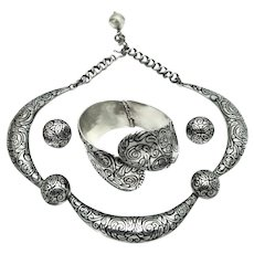 Margot de Taxco 5543 Swirls Enamel Mexican Sterling Silver Necklace Bracelet Earrings Parure
