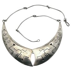 Taxco Mexican Sterling Silver Bib Necklace