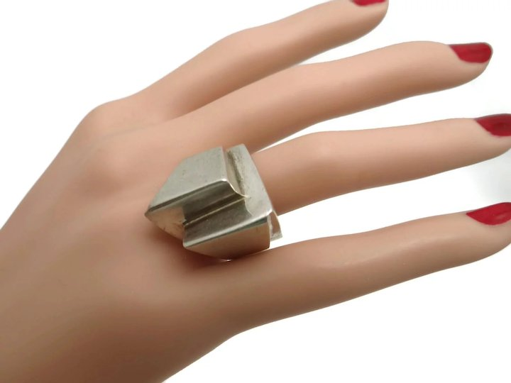 Molina Tm 90 Taxco Mexican Architectural Modernist Sterling Silver Ring