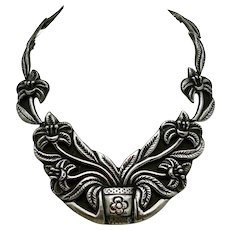 1940's MS 940 Silver Taxco Mexican Repoussé Pectoral Necklace