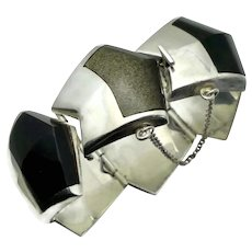 Enrique Ledesma Obsidian Sterling Silver Large Chevron Taxco Mexican Bracelet #207