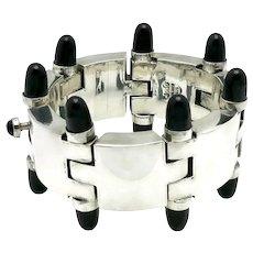 122GR Mexican Modernist Onyx Cones Sterling Silver Bracelet