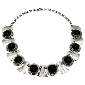 Early Mexican Onyx Sterling Silver Shields Necklace 119Gr