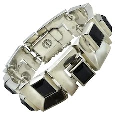 100GR Taxco Mexican Onyx Sterling Silver Modernist Squares Bracelet