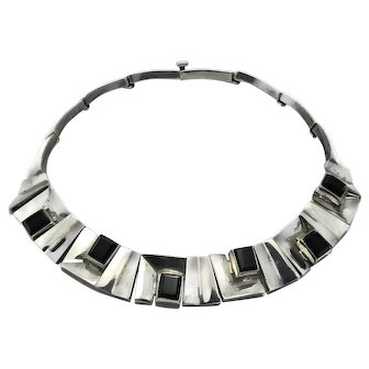 202Gr Taxco Mexican Modernist Onyx Sterling Silver Squares Necklace