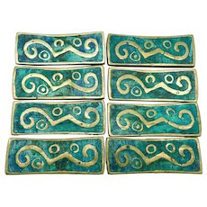1958 Pepe Mendoza Brass Ceramic Mexican Set of 8 Drawer Pulls