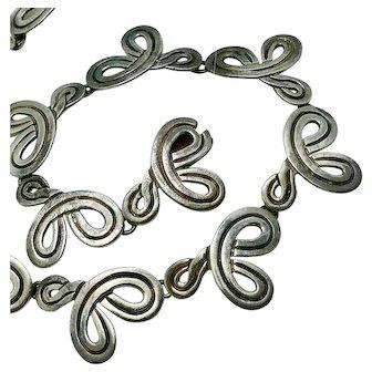 Reveriano Castillo Taxco Mexican Swirls Sterling Silver Choker Necklace