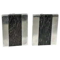 Sigi Pineda Taxco Modernist Mexican Ebony Sterling Silver Cufflinks