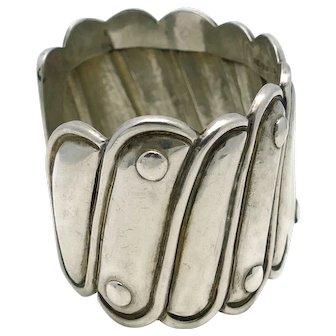 "Early Antonio Pineda Repoussé Silver Mexican Cuff 1 3/4"" Wide"