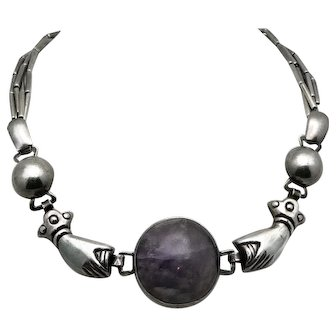 William Spratling Amethyst Hands Sterling Silver Taxco Mexican Necklace