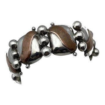 1939 William Spratling 980 Silver Copper Taxco Mexican Pillow Bracelet