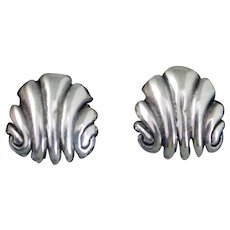 1939 William Spratling Silver Shell Taxco Mexican Earrings