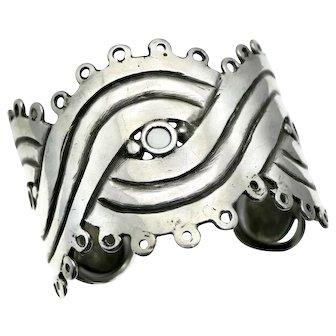 Rare William Spratling 980 Silver Three Eyed Mask Cuff Taxco Mexican