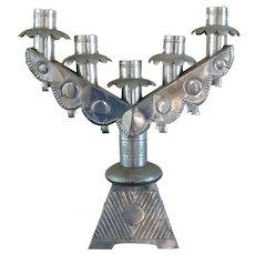 "Rare William Spratling Tin Taxco Mexican Five Light Candelabra 15"" Tall"