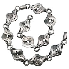 1940's William Spratling Taxco Mexican Twisted Link Sterling Silver Necklace / Set of 2 Bracelets