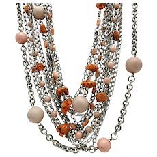 Stephen Dweck Peach Angel Skin Coral Sterling Silver 12 Strand Necklace 39""