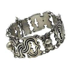 "Heavy 1940's Taxco Mexican 980 Silver Bracelet 7 3/8"""