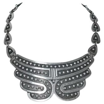 """Stunning Early Taxco Mexican Beaded Pectoral Sterling Silver Necklace 15 3/4"""""""