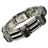 "TOB Taxco Mexican Onyx Sterling Silver Modernist Bracelet 7"" 99GR"