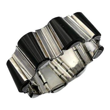 Heavy Onyx Sterling Silver Taxco Mexican Modernist Bracelet